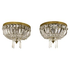 Pair of French Vintage Crystal and Brass Three-Light Ceiling Fixtures
