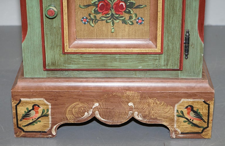Pair of French Vintage Farmhouse Country Style Had Painted Side Cupboards Tables For Sale 1