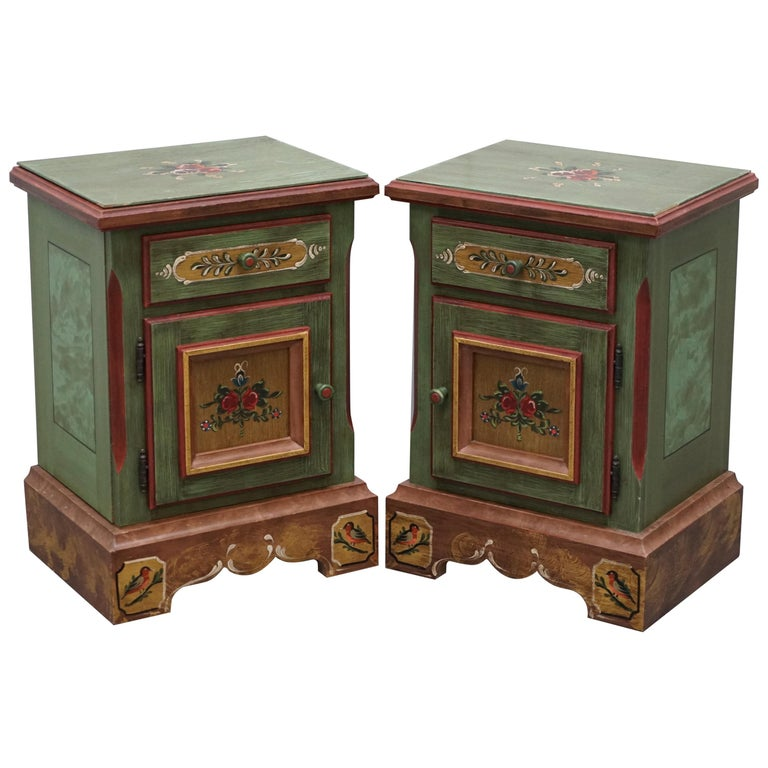 Pair of French Vintage Farmhouse Country Style Had Painted Side Cupboards Tables For Sale
