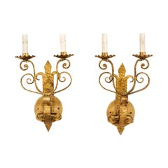 Pair of French Vintage Fleur-de-lys Gold Tone Iron Scroll Sconces