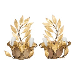 Pair of French Vintage Gilt-Brass Laurel Leaf Two-Light Sconces