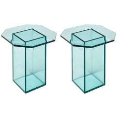 Pair of French Vintage Glass Side Tables