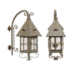 Pair of French Vintage Grey-Blue Painted Iron Wall Mount Sconce Lanterns