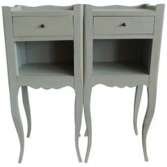 Pair of French Vintage Handcrafted Hand Painted Nightstands