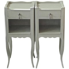 Pair of French Vintage Handcrafted Hand Painted Nightstands with One Drawer