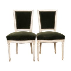 Pair of French Vintage Louis XVI Painted Side Chairs