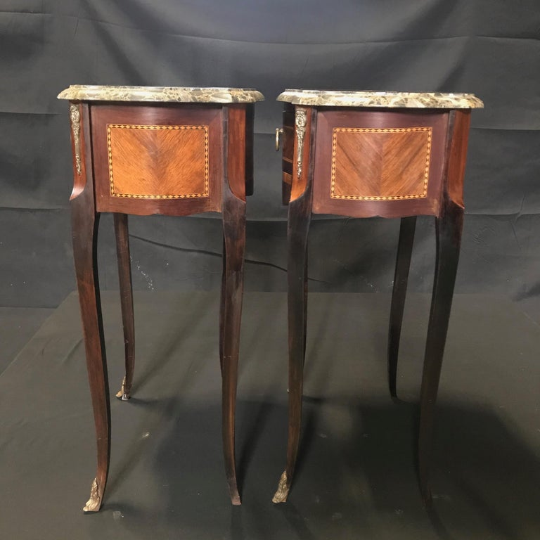 Pair of French Vintage Mahogany & Satinwood Inlay Night Stands with Marble Tops For Sale 5