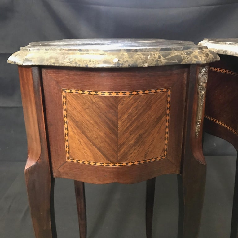 Pair of French Vintage Mahogany & Satinwood Inlay Night Stands with Marble Tops For Sale 6