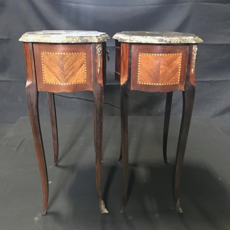 Directoire Pair of French Vintage Mahogany & Satinwood Inlay Night Stands with Marble Tops For Sale
