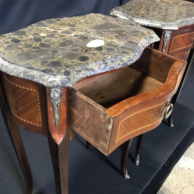 Pair of French Vintage Mahogany & Satinwood Inlay Night Stands with Marble Tops For Sale 4