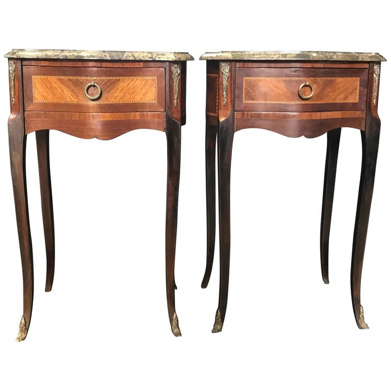 Pair of French Vintage Mahogany & Satinwood Inlay Night Stands with Marble Tops For Sale
