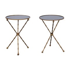 Pair of French vintage Maison Jansen Style Brass and Mirror Faux-Bamboo Tables