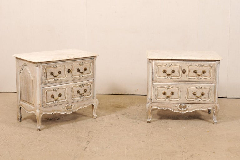 Carved Pair of French Vintage Marble-Top Painted Wood Commodes with Pierced Skirts For Sale