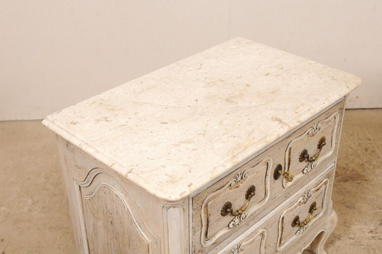 20th Century Pair of French Vintage Marble-Top Painted Wood Commodes with Pierced Skirts For Sale