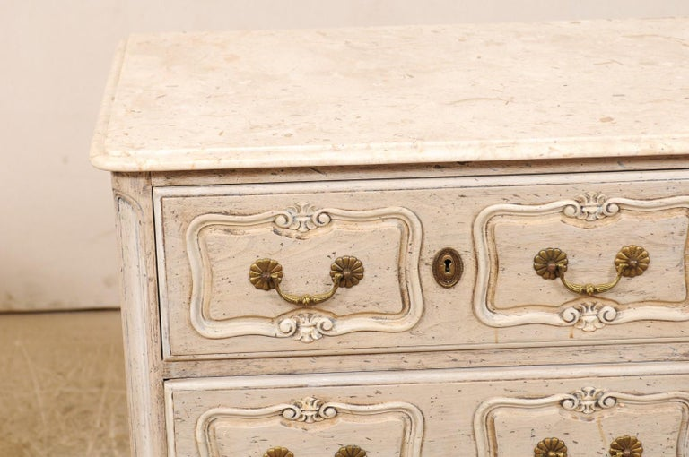 Pair of French Vintage Marble-Top Painted Wood Commodes with Pierced Skirts For Sale 1