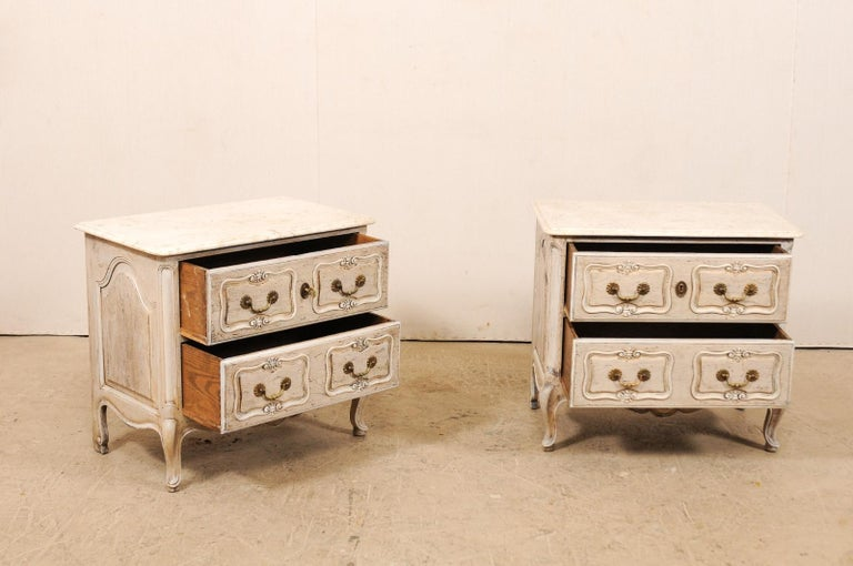 Pair of French Vintage Marble-Top Painted Wood Commodes with Pierced Skirts For Sale 2
