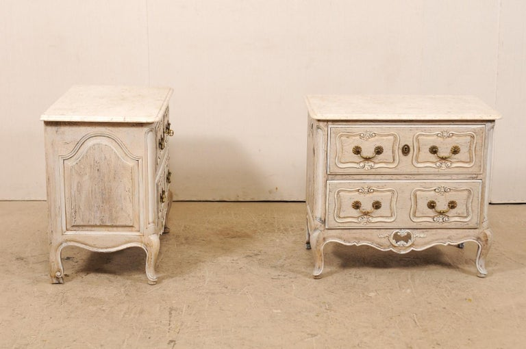 Pair of French Vintage Marble-Top Painted Wood Commodes with Pierced Skirts For Sale 4