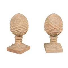Pair of French Vintage Painted Terracotta Pinecone Finials with Acanthus Leaves