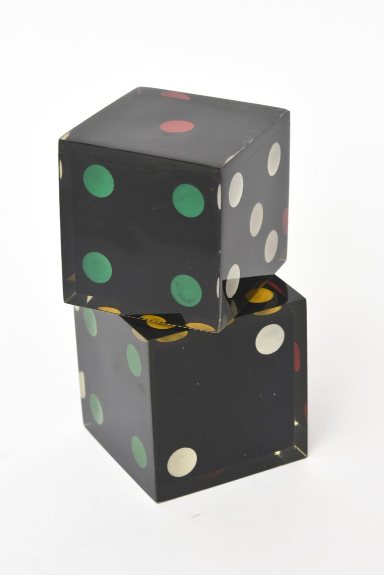 Vintage French Lucite Sculptural Dice Set of 2 In Good Condition For Sale In North Miami, FL