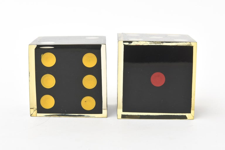 Late 20th Century Vintage French Lucite Sculptural Dice Set of 2 For Sale