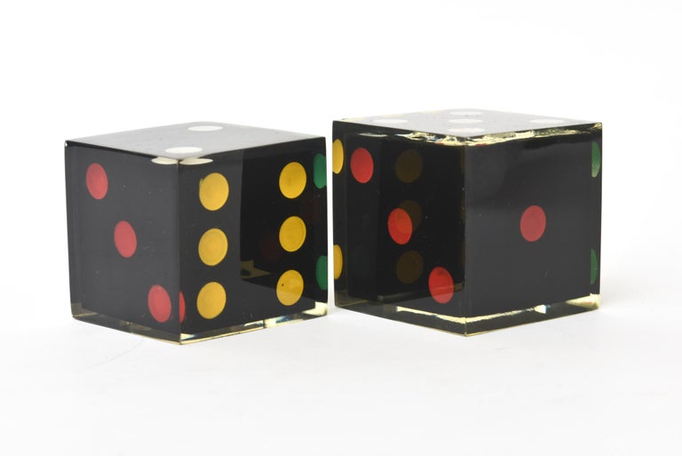 Vintage French Lucite Sculptural Dice Set of 2 For Sale 1
