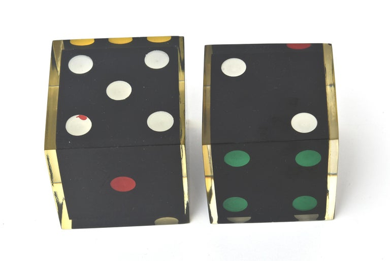Vintage French Lucite Sculptural Dice Set of 2 For Sale 3