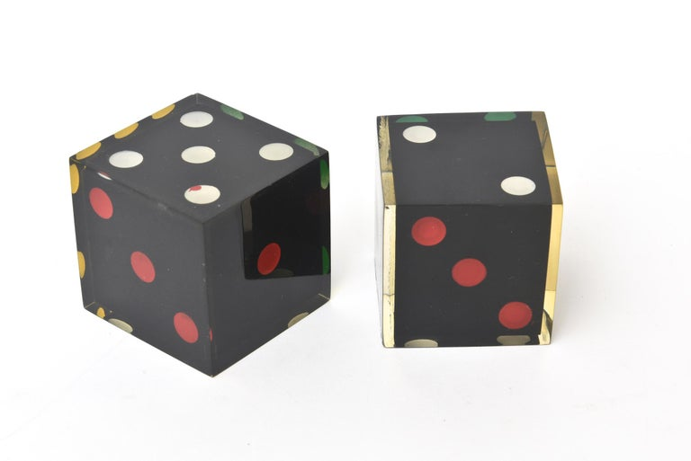 Vintage French Lucite Sculptural Dice Set of 2 For Sale 4