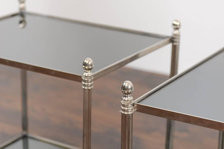 Pair of French Vintage Steel Tables with Mirrored Shelves from the 1950s For Sale 5