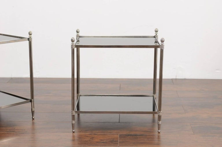 Mid-Century Modern Pair of French Vintage Steel Tables with Mirrored Shelves from the 1950s For Sale