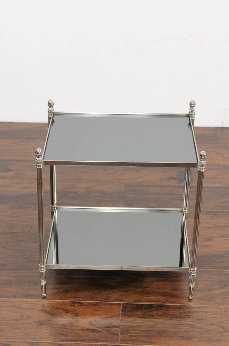 Pair of French Vintage Steel Tables with Mirrored Shelves from the 1950s In Good Condition For Sale In Atlanta, GA