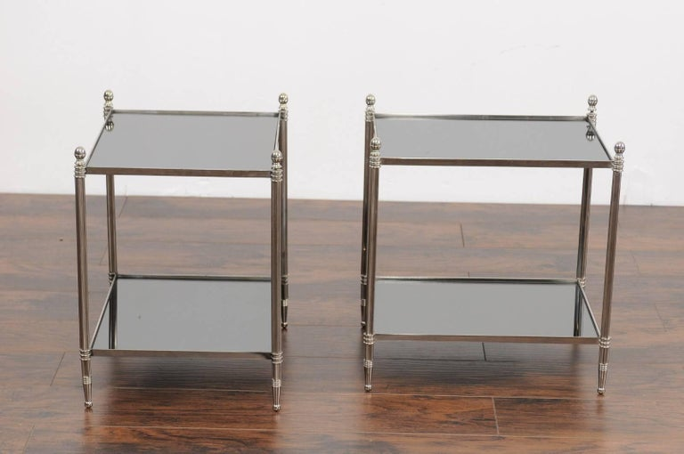 20th Century Pair of French Vintage Steel Tables with Mirrored Shelves from the 1950s For Sale