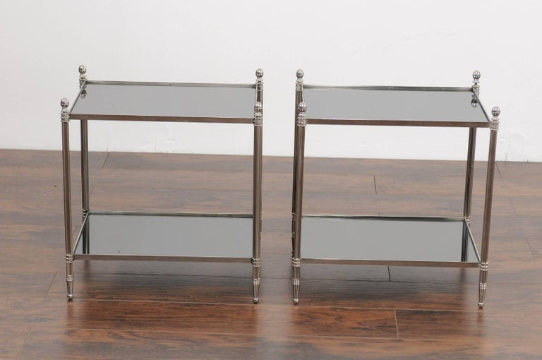 Pair of French Vintage Steel Tables with Mirrored Shelves from the 1950s For Sale 1