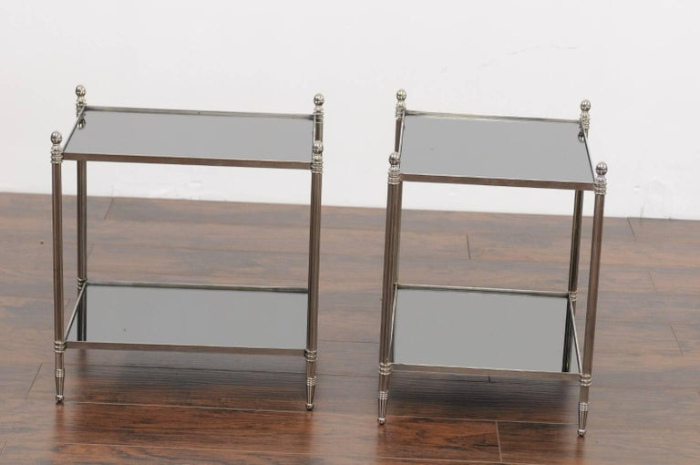 Pair of French Vintage Steel Tables with Mirrored Shelves from the 1950s For Sale 2