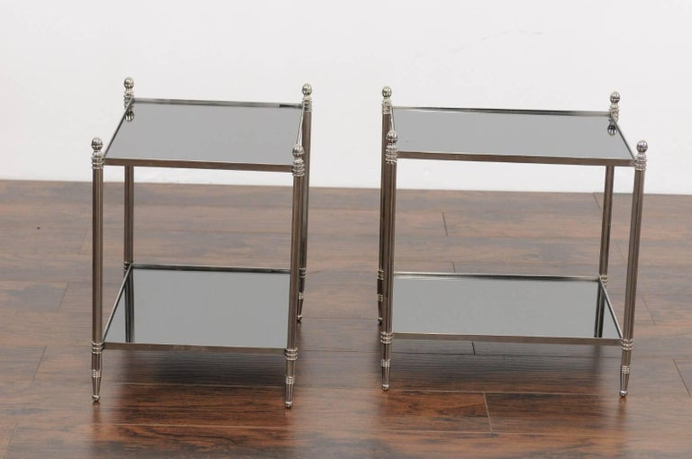 Pair of French Vintage Steel Tables with Mirrored Shelves from the 1950s For Sale 3
