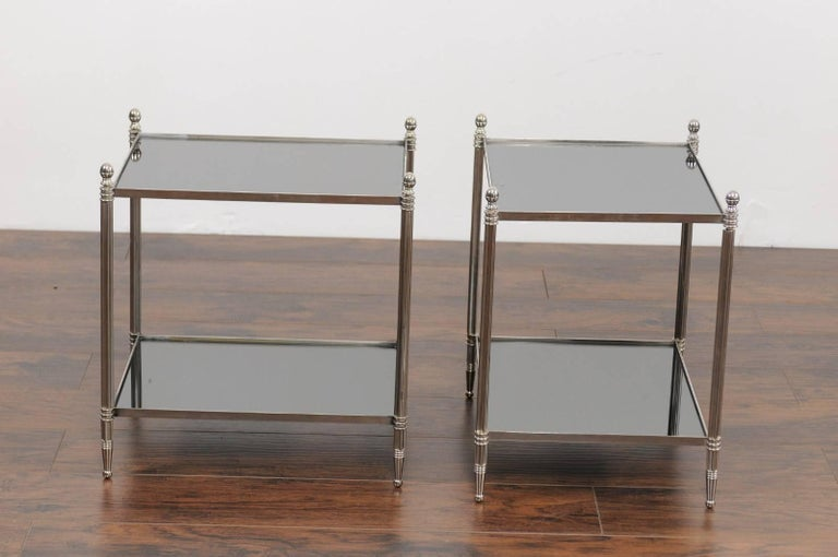 Pair of French Vintage Steel Tables with Mirrored Shelves from the 1950s For Sale 4