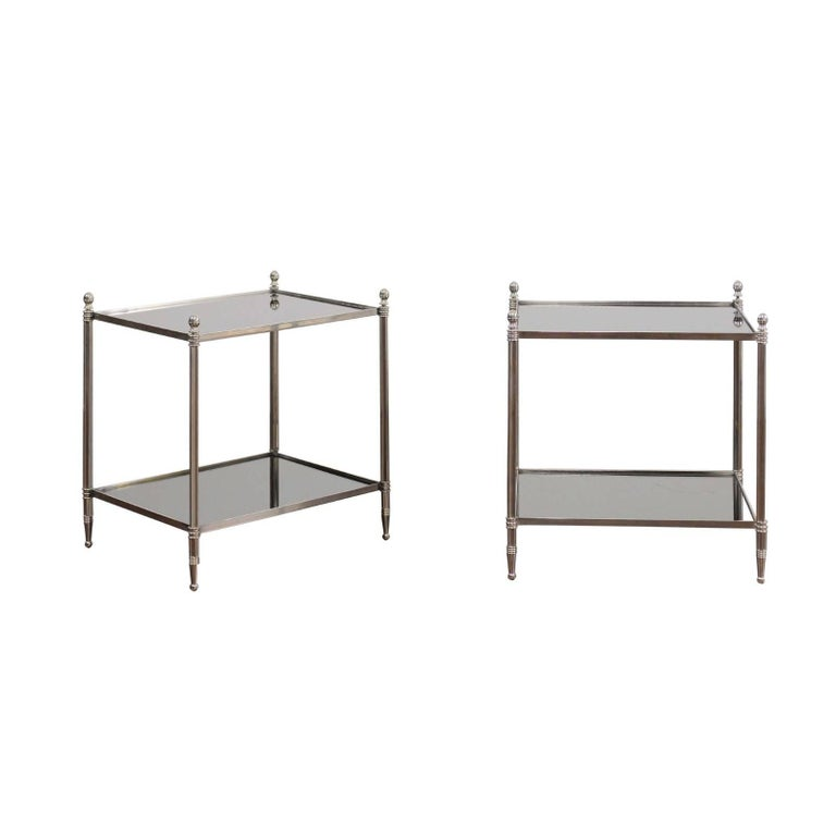 Pair of French Vintage Steel Tables with Mirrored Shelves from the 1950s For Sale