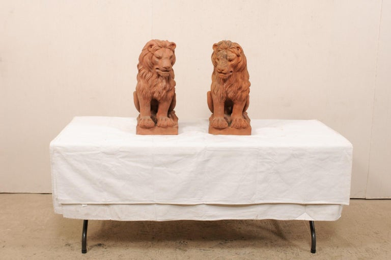 Pair of French Vintage Terracotta Snarling Lion Statues For Sale 5