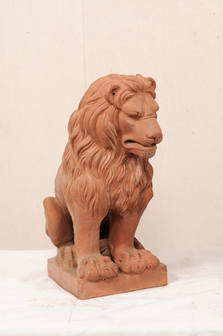 Pair of French Vintage Terracotta Snarling Lion Statues For Sale 1