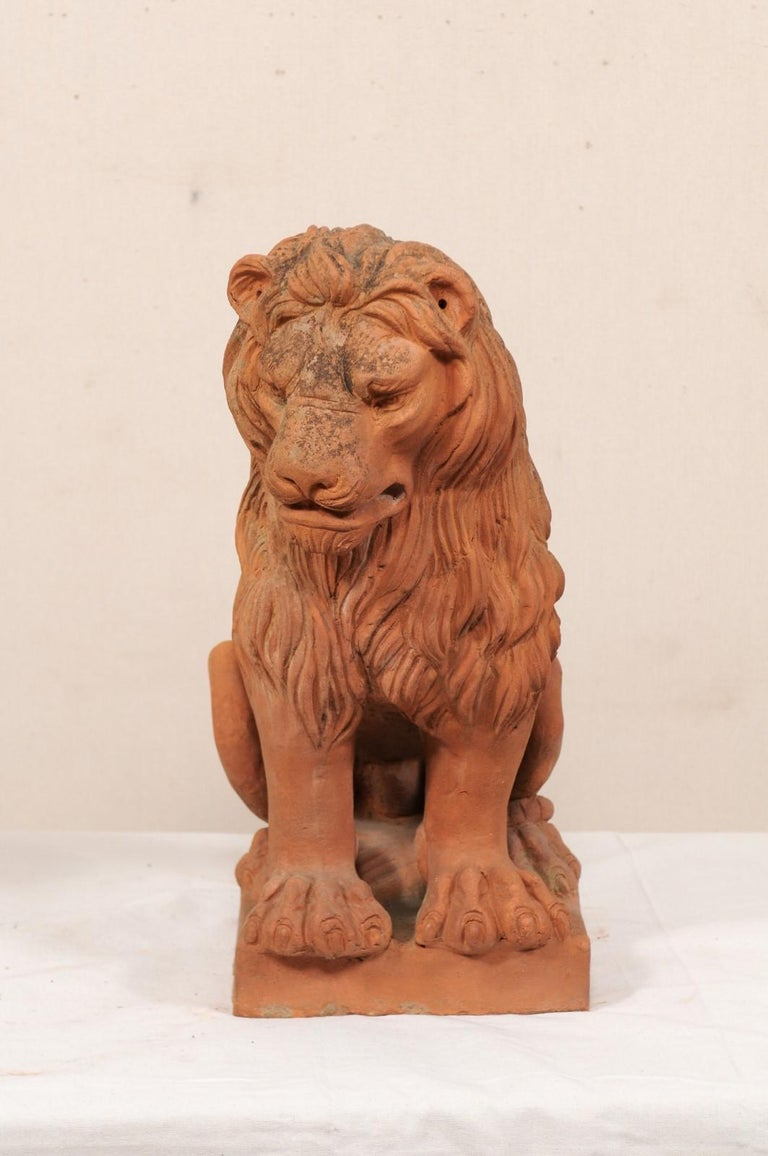 Pair of French Vintage Terracotta Snarling Lion Statues For Sale 2