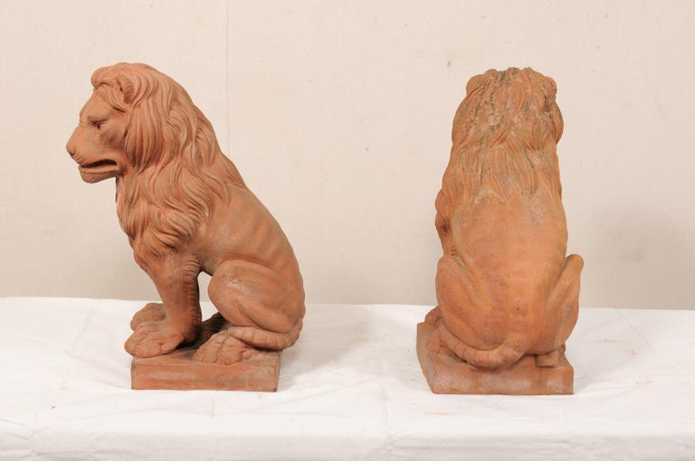 Pair of French Vintage Terracotta Snarling Lion Statues For Sale 4