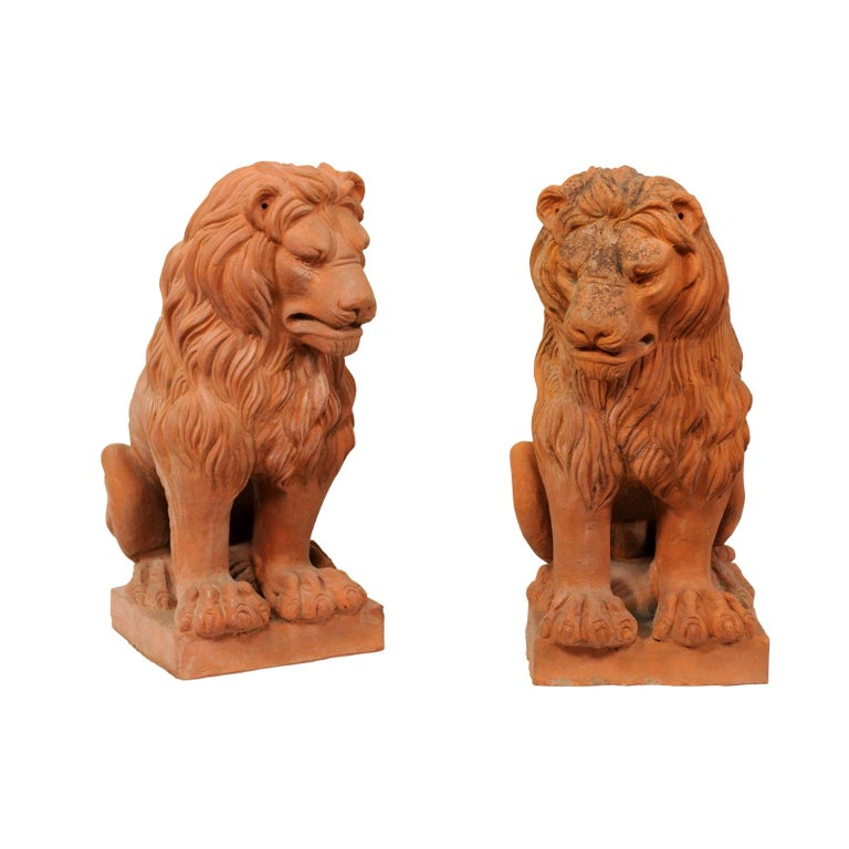 Pair of French Vintage Terracotta Snarling Lion Statues For Sale