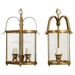 Pair of French Vintage Two-Light Brass Lanterns