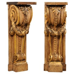 Pair of French Volute Carved and Gilt Corbels, Great Shelves or Console Base