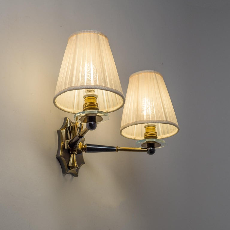 Pair of French Wall Lights, circa 1950, Patinated Brass For Sale 6