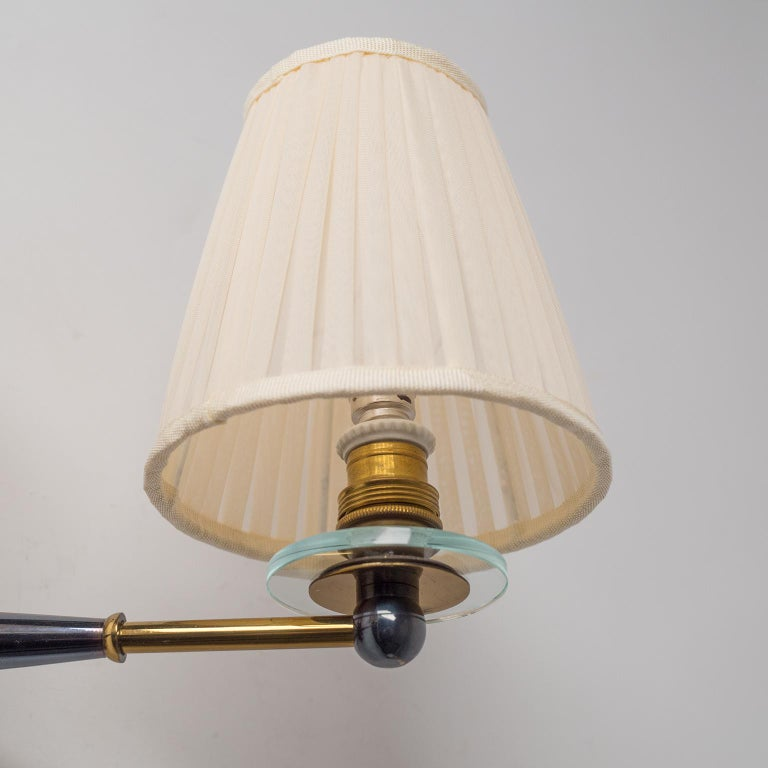 Mid-20th Century Pair of French Wall Lights, circa 1950, Patinated Brass For Sale