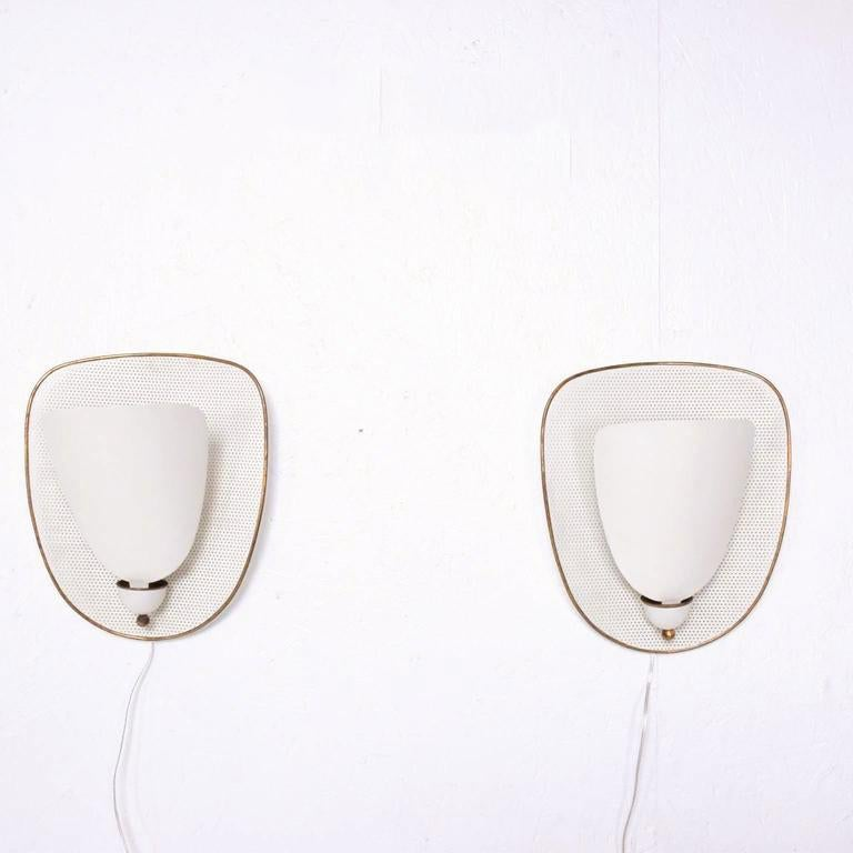 Pair of French Wall Sconces after Mathieu Matégot In Excellent Condition In National City, CA