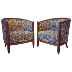 Pair of French Walnut and Damask Tub Chairs, circa 1920
