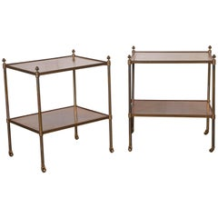 Pair of French Walnut and Lacquered Brass Two-Tier Tables