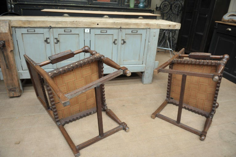 Pair of French Walnut and Leather Chairs, circa 1900 6