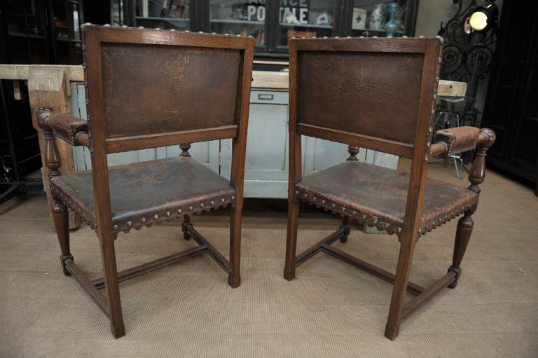Early 20th Century Pair of French Walnut and Leather Chairs, circa 1900